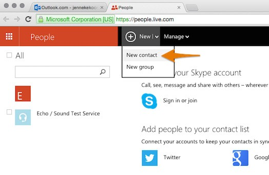 Adding All4band to Hotmail contacts